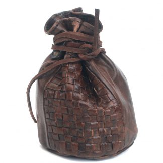 """7"""" Woven Leather Money Bag:"""
