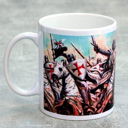 Knights Templar Mug : Cross and Templar Charge Scene: